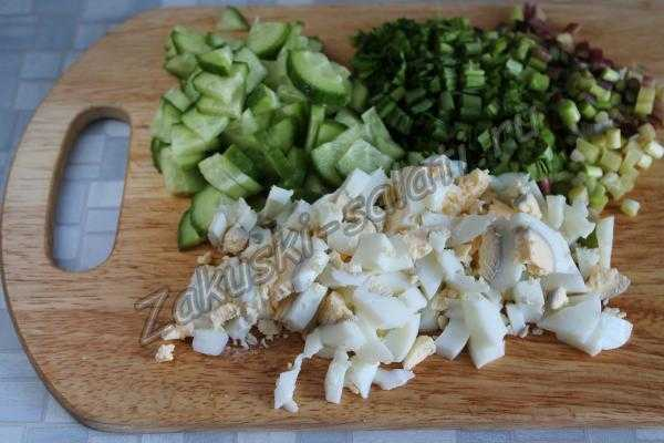 Нарезка овощей и яиц