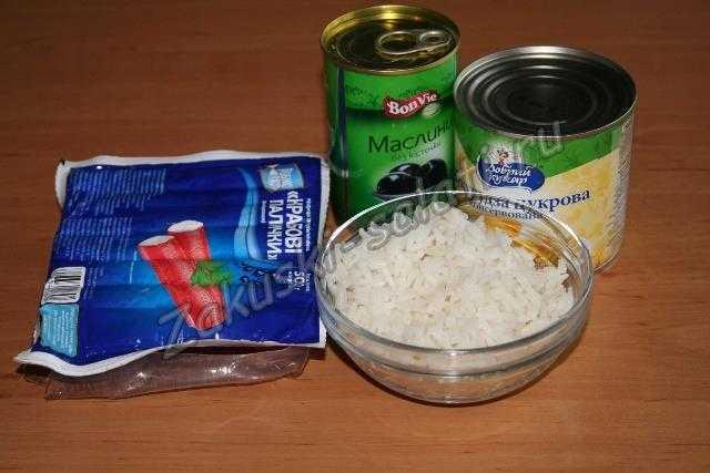 Ингредиенты для салата из крабовых палочек
