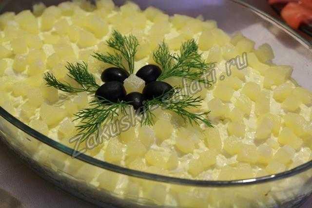 салата с ананасами и куриной грудкой