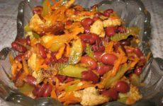 Вкусный салат с красной фасолью и говядиной