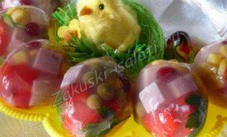 Заливное «Пасхальные яйца»