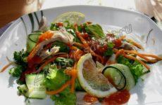 Салат с курицей, свежими овощами и манго