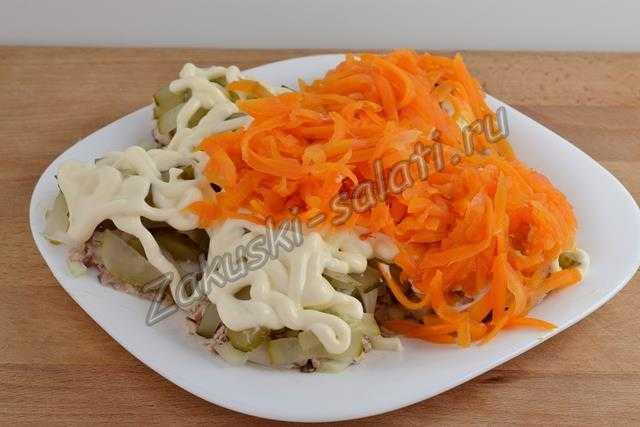 слой майонеза и морковь