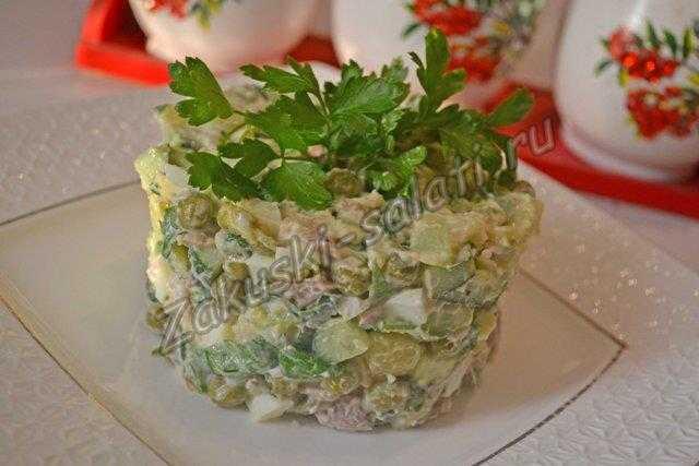 мясной салат с горошком