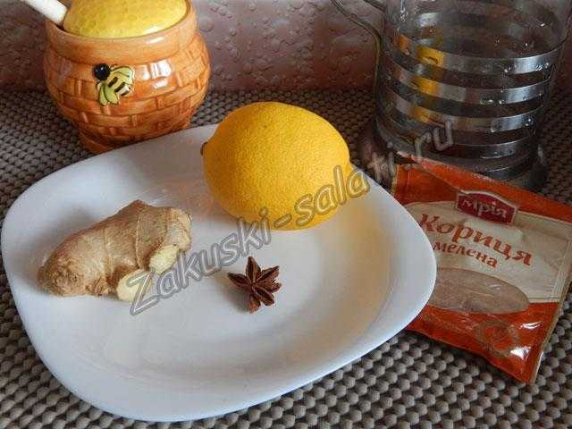 ингредиенты для напитка с имбирем