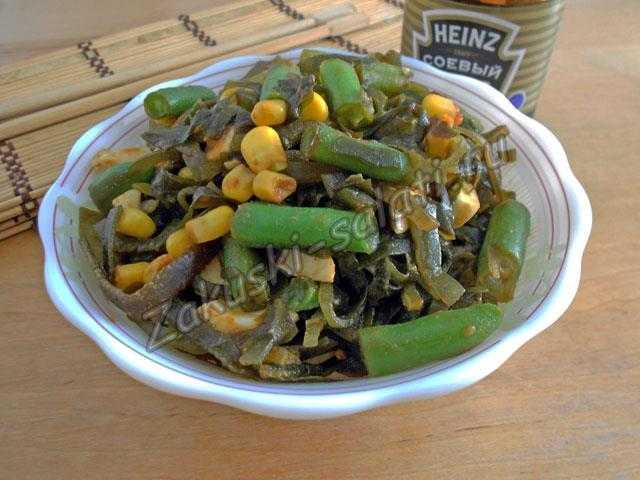 легкий салатик с морской капустой