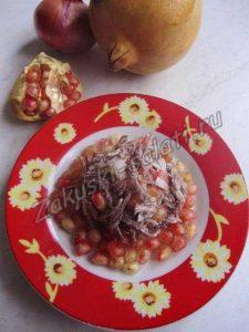 мясной салат с гранатом, рецепт с фото