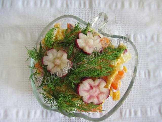 салат цветы с редисом