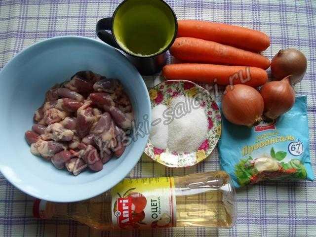 продукты для салата с сердечками