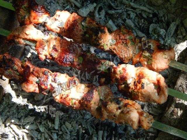 шашлык из свинины полосками, рецепт с фото