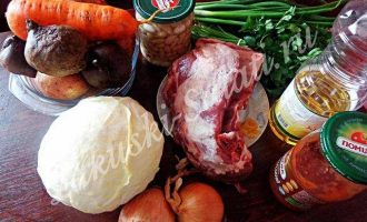 Самый настоящий вкусный борщ с мясом и фасолью
