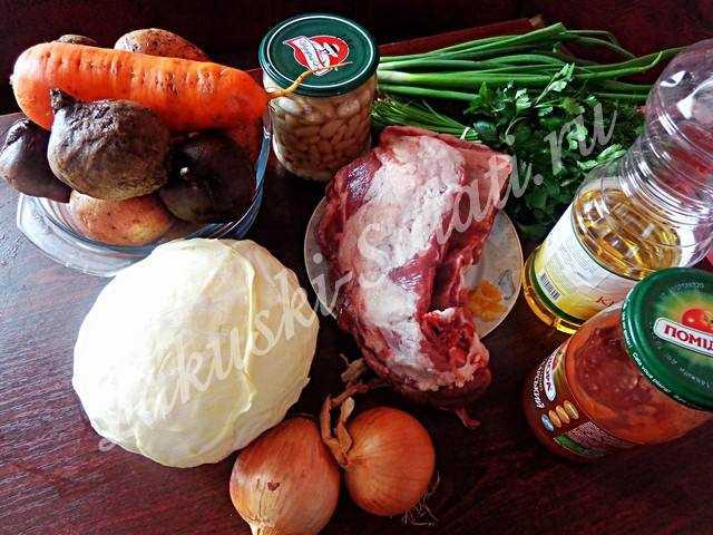 Ингредиенты к борщу