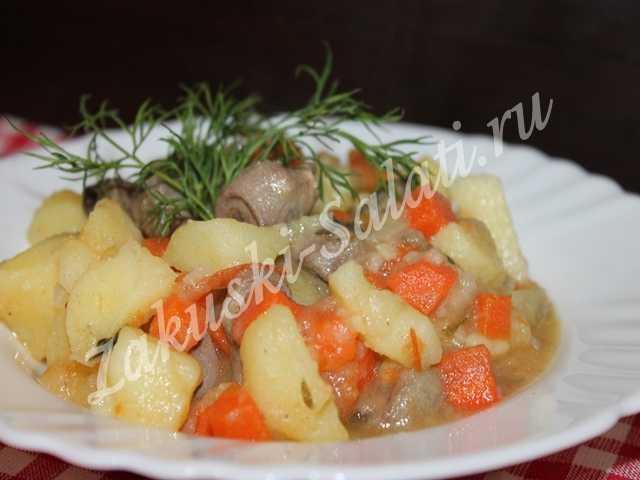 serdechki s ovoshhami 2 - Сердечки куриные тушеные с овощами