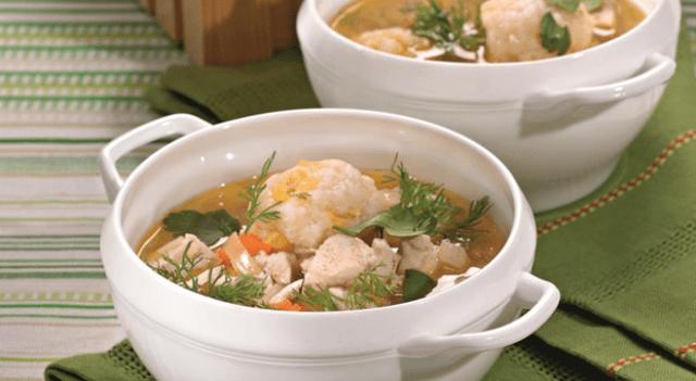 суп с клёцками и курицей